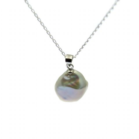 Pearl Pendant Necklace Statement Baroque Pearl on Sterling Silver Chain